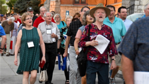 Hymn Society members singing in the streets of Redlands
